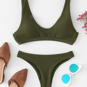 SHEIN never before worn army green trendy bikini!